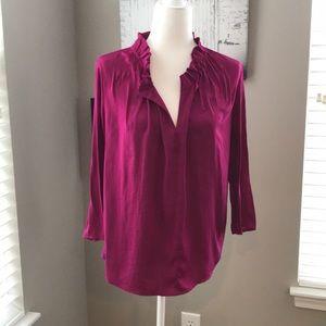 Ann Taylor Plum Pullover Blouse - size M